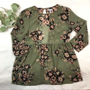 Tops - O'Neill Green Floral Print Open Back Blouse 🌿